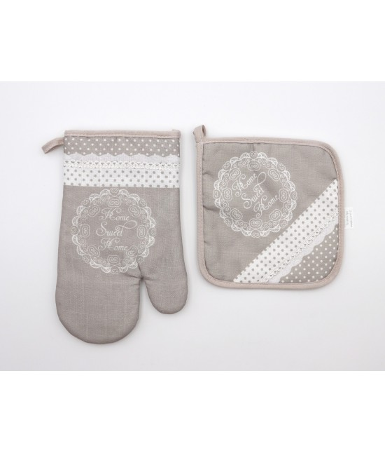 Set presina e guantone shabby chic in tessuto pois con stampa home sweet home: 18002